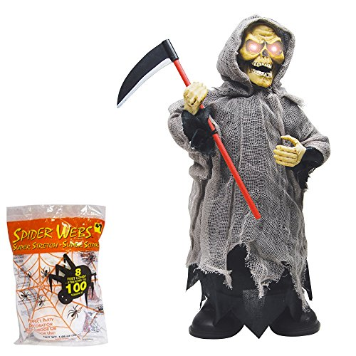 [Halloween Decoration Animated Screaming Moving Grim Reaper | Scary Haunted House Prop | 8.5 Inches with Spider Webbing] (Black Spider Animated Prop)