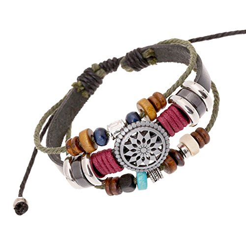 Time Pawnshop Handmade Sunflower Wood Beads Multilayer Charm Leather Bracelet Adjustable