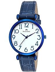 Swisstone CK301-BLUE White Dial Blue Leather Strap Wrist Watch For Women/Girls