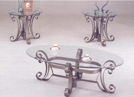 Buy low price country art style coffee table and 2 side for Iron coffee table set