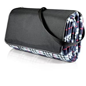 Picnic Time Blanket Tote, X-Large, Black Plaid