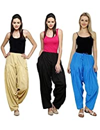 Fashion Store Women's Cotton Patiala Salwar Combo (Black,Blue & Beige & Free Si