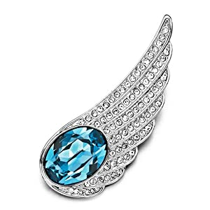 Pugster Wing Detailed Crystal&march Birthstone Aquamarine Austrian Brooches Pins