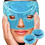 Sofida Hot Cold Gel Facial Eye Mask - Ice Eye Pads - Reduce Puffiness Dark Circles - Migraine Headache Stress Relief - Therapeutic Heat Face Compress Pack - Spa Therapy Wrap for Sinus Pressure - Blue