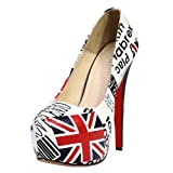 VonFon Women Work Space PU Leather Round Toe Super High Heels Flag Pumps