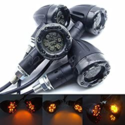 Magideal 4x Universal Motorcycle LED Amber Lamp Rear Turn Signal Brake Lights