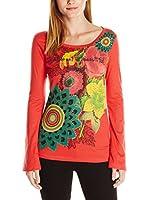 Desigual Camiseta Manga Larga Ruth (Rojo)
