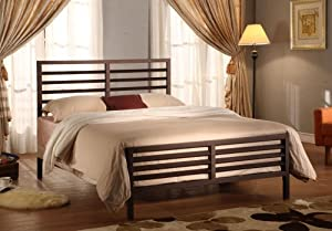 Bronze Metal Annabella Collection Full Size Bed Headboard Footboard Rails & Slats
