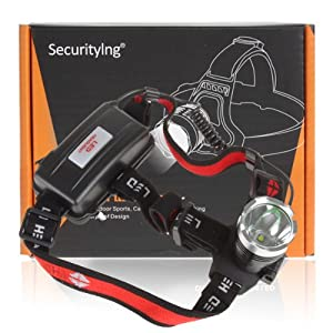 SecurityIng® 1600 Lumens XM-L T6 LED Waterproof 3 Modes Design Headlamp