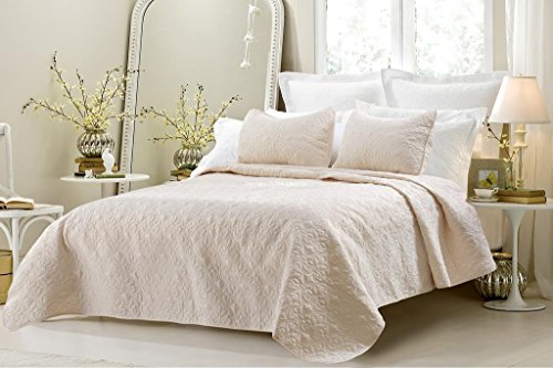 Big Save! Multiple Sizes - Oversized-3pc Quilted Coverlet Set- Ivory-King - Exclusively by Blowout B...