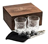 Premium Whiskey Stones Gift Set - 2 Large Whiskey Glasses, 8 Granite Scotch Chilling Rocks, Tongs, Velvet Pouch in Elegant Wooden Gift Box Packaging - by LEEBS