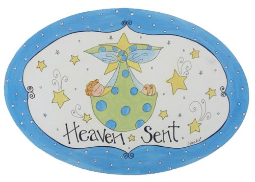 The Kids Room by Stupell Heaven Sent with Blue Border Oval Wall Plaque