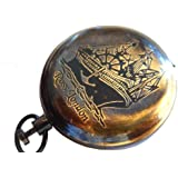 Antiquated Brass Push Button Pocket Watch Dalvey Style Nautical Flip-Open Compass.