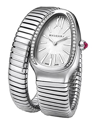 Bvlgari Serpenti Silver Dial Steel Bracelet Ladies Watch 101827