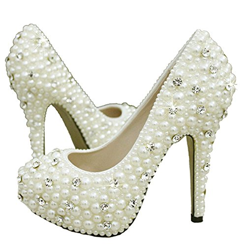 Getmorebeauty Women's Diamante Full Toe Pearls Prom Dress Wedding Shoes 7 B(M) US
