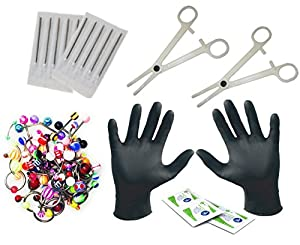 16G and 14G Body Piercing Kit 45 Pieces, 30 Mixed Body Jewelry Tongue,Targus,Ear,Eyebrow,Nipple,Lip,Nose