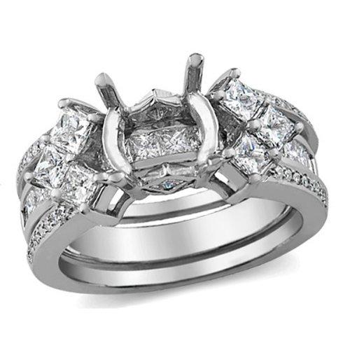 1.50 Carat (Ctw) 14k White Gold Princess & Round Diamond Ladies Bridal Semi Mount Ring Set (No Center Stone)