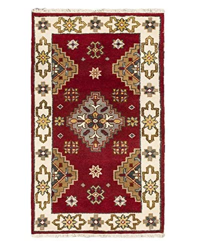 Hand-Knotted Royal Kazak Wool Rug, Cream/Dark Red, 3' x 5'