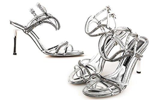Scarpe donna chic A. VENTURINI sandalo gioiello argento con strass N.36 X3211