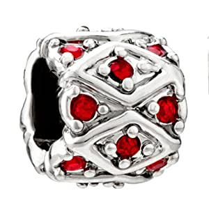 Pugster Red Swarovski Crystal Bling Charm Bead Fit Pandora Charm Bead Bracelet