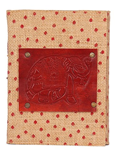 Store Indya Ganesh Motif Leather & Jute Journal Diary Travel Notebook Embossed Sketchbook with 75 Sheets 150 Unlined Handmade Pages