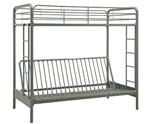 Dorel Home Products Twin-Over-Full Futon Bunk Bed, Silver