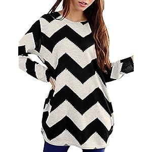 Allegra K Women Round Neck Contrast Color Zig-Zag Knitted Shirt Black White M