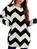 Allegra K Women Round Neck Color Block Zig-Zag Knitted Shirt Black White XL