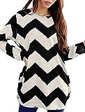 Allegra K Women Round Neck Contrast Zig-Zag Pattern Knitted Shirt Black White L