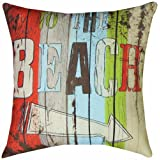 Manual Woodworkers & Weavers Climaweave Indoor/Outdoor Square Decorative Throw Pillow, 18-Inch, To The Beach