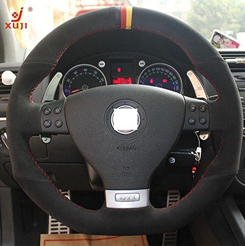 Black Genuine Leather Suede Steering Wheel Cover for 2008 Volkswagen VW R32 / 2006 2007 2008 2009 Volkswagen VW GTI / 2006 2007 2008 2009 Volkswagen VW Jetta GLI (Steering Wheel Gti Vw compare prices)