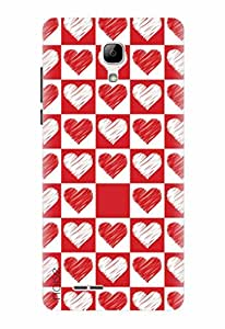 Noise Designer Printed Case / Cover for Micromax Bolt Selfie Q424 / Patterns & Ethnic / Red and white hearts Design