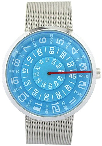 Youyoupifa YouYouPifa Unisex Special Design Dial Stainless Steel Quartz Business Wrist Watch (Blue)