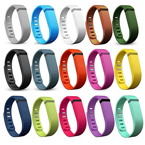 i-smile-15PCS-Replacement-Bands-with-Metal-Clasps-for-Fitbit-Flex-Wireless-Activity-Bracelet-Sport-Wristband-Fitbit-Flex-Bracelet-Sport-Arm-Band-No-tracker-Replacement-Bands-Only-2PCS-Silicon-Fastener