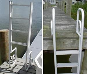 Buy 4 Step Heavy Duty Anodized Aluminum Swimming Pool Dock Ladder FLIP UP by Ortus Enterprises
