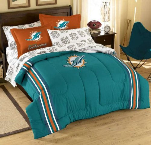 Nfl Miami Dolphins Twin Comforter, Sheets And Sham (5 Piece Bed In A Bag) front-490658