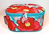 St.Jane Red Flower Sewing Basket,blue with Red Flowers,plastic Compartment Shelf,handle,12″x9.5″x6.2″ Dritz, Free Gift! image