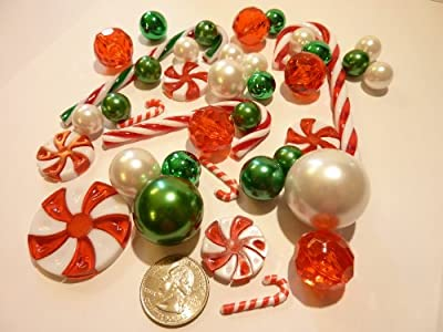 Christmas Floating Candy - Land 40 Jumbo & Assorted Sizes Green, Red and White Pearls, Metallic Beads, Red & Green Candy Gems and Candy Canes Vase Fillers Value Pack - including one Jumbo Transparent Water Gels Packet to float the Pearls, Gems & Candy Can