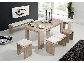 Esstischgruppe 1 Tisch 1 Bank 2 Hocker in Eiche sägerau