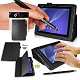 SONY XPERIA Z2 Tablet Case - CARBON FIBRE BLACK PropUp Stand Case - Cover with Magnetic Lid & AUTO STANDBY FUNCTION (for Instant SLEEP / WAKE Functionality) Designed by G-HUB® exclusively for Sony XPERIA TABLET Z2 - Fits All Versions (Including Models SGP541 / SGP521 / SGP551 / 16GB / 32GB / 64GB / 2G / 3G / 4G / LTE Version / WiFi Model / etc.) THIS PACKAGE INCLUDES BONUS: G-HUB ProPen Stylus