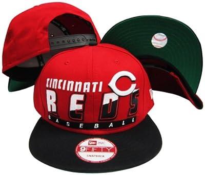 Cincinnati Reds Red/Black Two Tone Snapback Adjustable Plastic Snap Back Hat / Cap