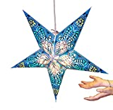 Hanging star lantern without lights - 5 point paper star Blue