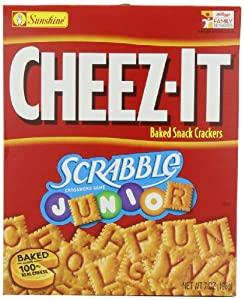 Sunshine Baked Snack Crackers, Cheez-It Scrabble Junior, 7 Ounce (Pack of 12)