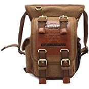 Vintage Canvas Shoulder Messenger Leg Bag Sling School Bags Chest Leather Patchwork Messenger Bag (Khaki)
