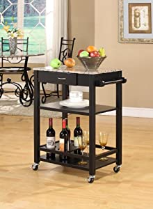 King's Brand K02 Faux Marble with Wood Kitchen Buffet Serving Cart, Black Finish by King's Brand