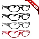 Reading Glasses _ Best 4 Pack of Readers for Women 2 Black 1 Red and 1 Grey Pair _ Always Have Crystal Clear Vision Everywhere You Need It! _ Stylish Look with Sure-Flex Comfort Spring Arms and Dura-Tight Screws _ Industry Leading 180 Day 100% Money-Back Guarantee + 1.25