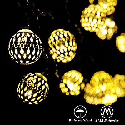 RECESKY Battery Operated Moroccan Ball String Lights 40 LED 25.8ft Waterproof Globe Lantern light for Outdoor, Indoor, Yard, Holiday, Fairy Xmas Decor, Party, Christmas Tree Decorations (Warm White)