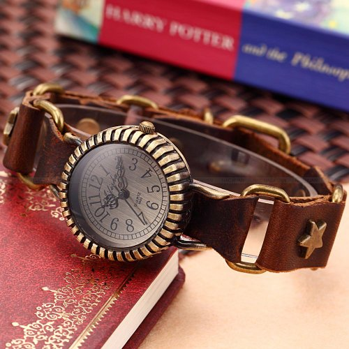 AMPM24 Retro Bronze Case Lady Women Stars Bracelet Coffee Leather Quartz Wrist Watch
