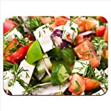 Greek Feta Cheese Salad Tomato Cucumber Premium Quality Thick Rubber Mouse Mat Pad Soft Comfort Feel Finish