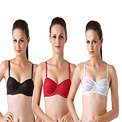 Bodyline Lacy Wired Multi Occasional Non Padded Black White Maroon Bra